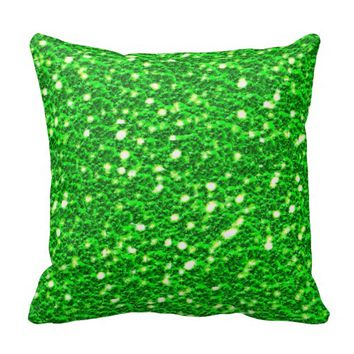 Lime Green Sparkly Faux Glitter look Texture Pillow