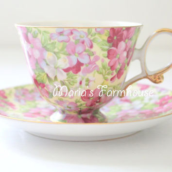 Vintage, Chintz Pattern, Porcelain, Tea Cup & Saucer, Tea Party, Gifts for Her, Collectible, Virginia Stock Inspired