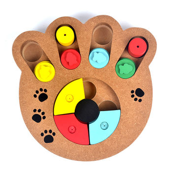 Pet Dog Toys Wooden Pet Feeder Food Educational Interactive Bone or Paw Puzzle