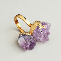 18K Gold Plated Lavender Quartz Ring