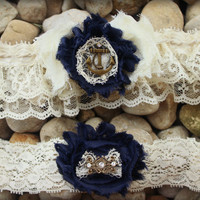 MARINA Nautical Garter Set - Military Garter, U.S. Marines Garter, U.S. Navy Garter Beach Wedding Accessory Blue Garter Anchor Garter Pirate