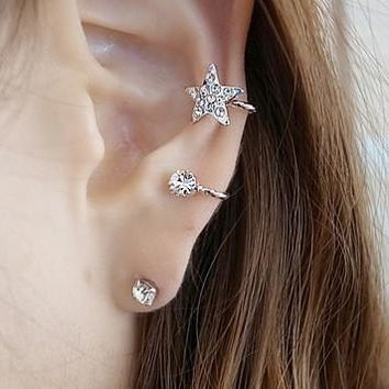 Shiny Star two color Earrings Shiny Sexy ear clip [11192812820]