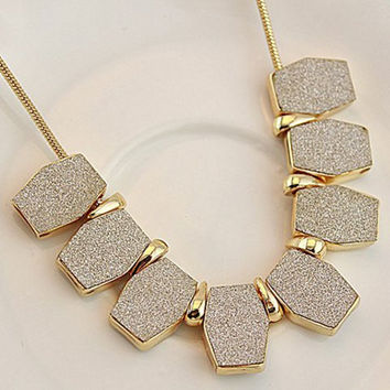 Alloy Necklace with Frosted Pendant