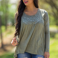 Circle Of Life Top-Olive – Simply Dixie Boutique