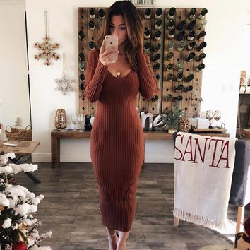Winter Rib Knit Low V-Neck Long Slim Bodycon Maxi Dress