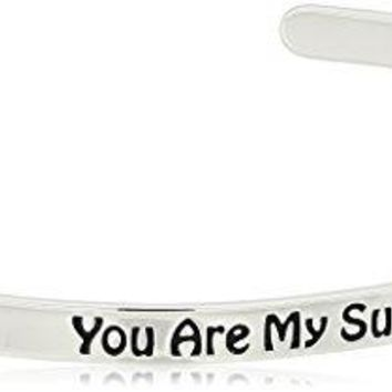 Sterling Silver Sentiment Cuff Bracelet Made with Swarovski Crystal 4mm 65quot