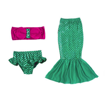 3pcs Swimsuit Mermaid Tails