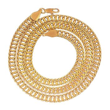 Luxury Filled Curb Cuban Link Gold Necklace Chain