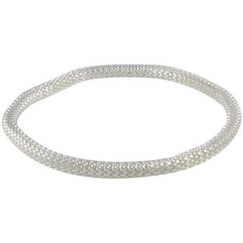925 Sterling Silver Filled Mesh Chain Stretch Bracelet (Silver 4mm Smooth)