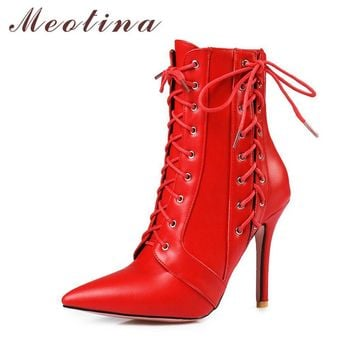 Meotina Women Mid-Calf Boots Autumn High Heels Motorcycle Boots Lace Up Zipper Shoes B