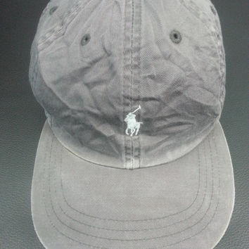 FREE SHIPPING!!!Vintage Polo By Ralph Lauren Pony RL Spellout Beige Adjustable Snapback Cap Hat