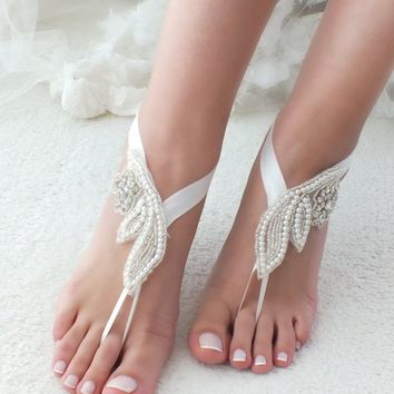 EXPRESS SHIPPING Pearl Rhinestone barefoot sandals bridal anklet Beach wedding barefoot sandals Bridal shoes Beach shoes anklets pool party