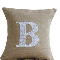 Burlap Monogram Pillow - Customized Sequin Monogram throw pillow- Sequin Throw pillows -14x14- Gift- Alphabet- Monogrammed throw pillow