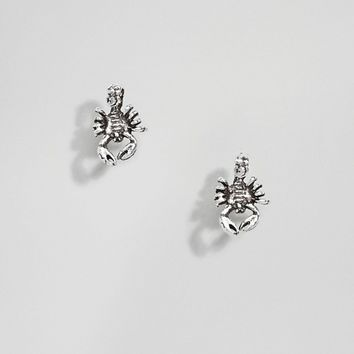 ASOS DESIGN Sterling Silver Scorpion Stud Earrings at asos.com
