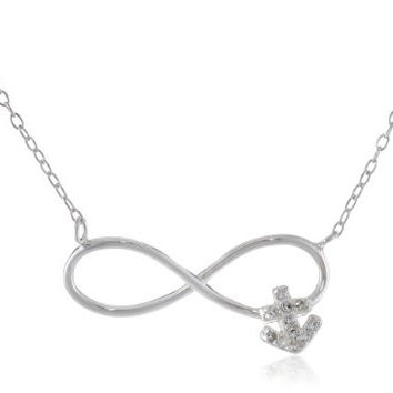 Sterling Silver Cubic Zirconia Infinity Anchor Necklace, 18""
