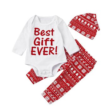 "3PCS Christmas Outfit ""Best Gift EVER"" Red and White for the Holidays"