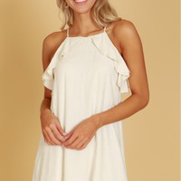 Ruffled Shift Dress Oatmeal