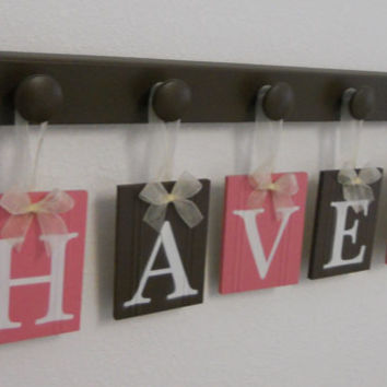 Kids Alphabet Letters Wooden. Set Includes 5 Hooks and Babies Name HAVEN - Pink and Brown. Baby Girls Room Wall Decor