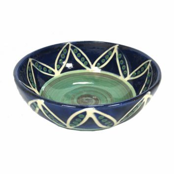 Earthworks Handmade Pottery - Soup Bowl (Blue Pea Pod)