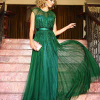 Emerald Green Evening Dress Luxury Beaded Women Party Dresses A Line Cap Sleeve Long Formal Wear robe soiree longue femme SAU289