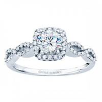RM1390 - Round Cut Halo Diamond Infinity Engagement Ring