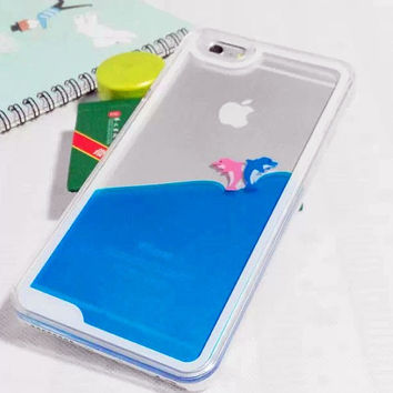 iPhone 5/5S/6/6 Plus Liquid Case / iPhone 3D Case / iPhone Aquarium Swimming Dolphin Case / iPhone Blue Ocean Case