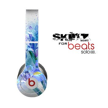 The Abstract Blue Floral Art Skin for the Beats by Dre Solo-Solo HD Headphones