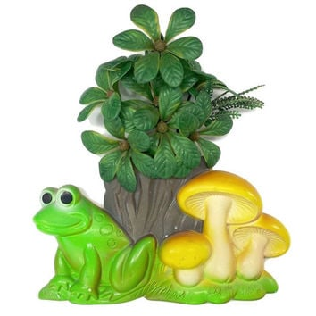 Vintage Chalkware Frog Mushroom Wall Plaque, 1978 Miller Studio, Woodland Toadstool Decor, Retro 70s Kitchen Wall Art, Vintage Nursery