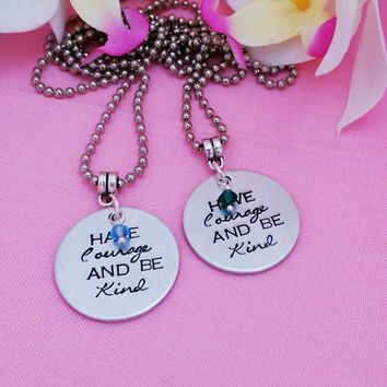 Have courage and be kind necklace - Cinderella Inspired Necklace - Charm Necklace -Graduation