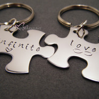 Infinite Love Couples Keychains, Puzzle Piece Keychains, Personalized Keychains , Anniversary Gift