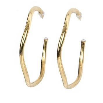L George Designs | Wavy Hoops Gold Earrings