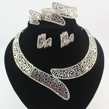 Fashion 18K White Gold Plated Women african beads costume bridal wedding Party Rhinestone Dubai Necklace Jewelry Sets
