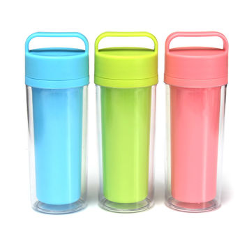 350mL Travel Mug Car Shatterproof Hand Portable Plastic Water Bottle Glass Cup Insulation Mug