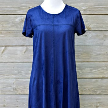 Scalloped Suede Shift Dress - Navy