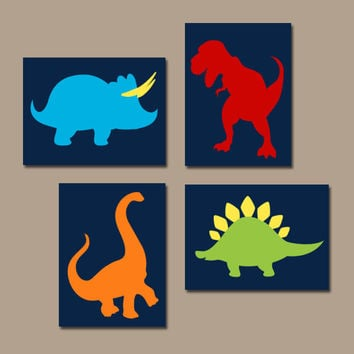 DINOSAUR Wall Art, Big Boy Bedroom Pictures, DINO Theme, Dinosaur Silhouettes, Baby Boy Nursery Artwork, Set of 4 Canvas or Prints