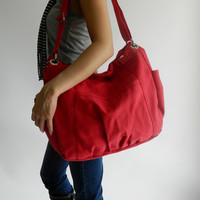 SALE - Anna in Red // messenger / shoulder bag / diaper bag / School bag / Purse / tote bag / Hobo / women / For her