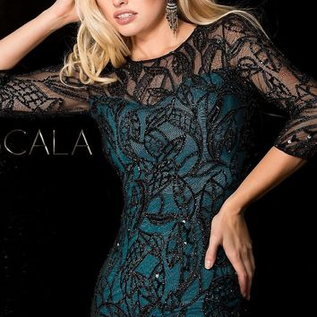 Scala Open Back Homecoming Dress with Sleeves