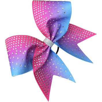 Columbia blue and hot pink bow with rhineatones