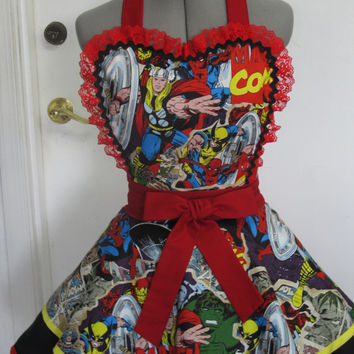 Marvel Comics Double Full of Flounce Sexy Pin Up Apron with a hint of Red