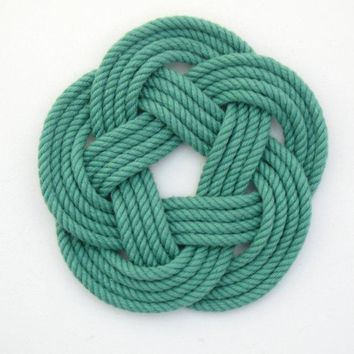 Sailor Knot Coasters, woven in Green Cotton , Set of 4