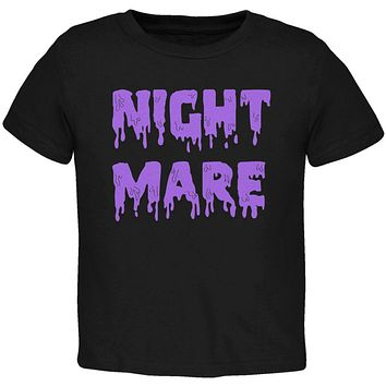 Halloween Nightmare Horror Purple Dripping Text Toddler T Shirt