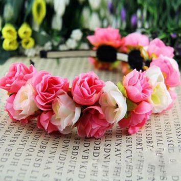 Wedding Multi-Color Double Row Floral Hairband Fabric Rose Flower Crown s72