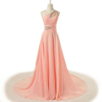 A-line floor-length long chiffon evening dress pink crystal One-shoulder evening dresses