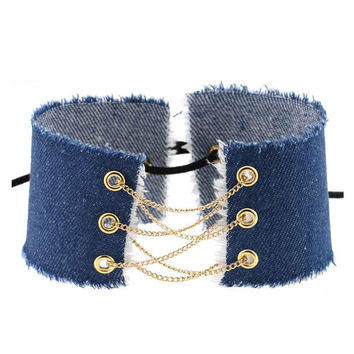 Denim Gold Chain Lace Up Choker Necklace