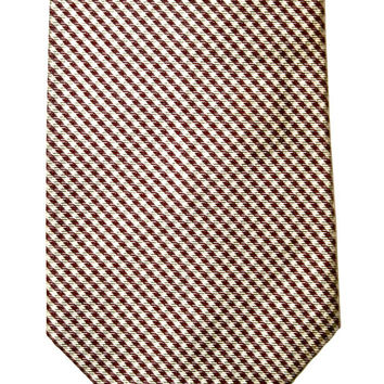Vintage Polo by Ralph Lauren Maroon / Cream Silk Necktie Made by Hand