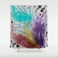 Feathers and Ink Shower Curtain by DuckyB (Brandi)