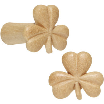 8 Gauge Organic Crocodile Wood Shamrock Saddle Plug Set