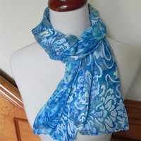 Long hand dyed Devore satin silk scarf, shades of blue and turquoise, ready to ship, silk scarf #423