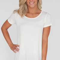 Solid Ruched Back Tunic Tee - Off White