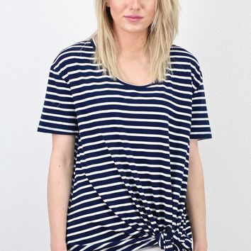 Short Sleeve Striped Knot Top {Navy}